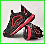 Кросівки N!ke Air Max 720 Чорні з Червоним Чоловічі Найк (розміри: 40,41,42,44,45) Відео Огляд, фото 8
