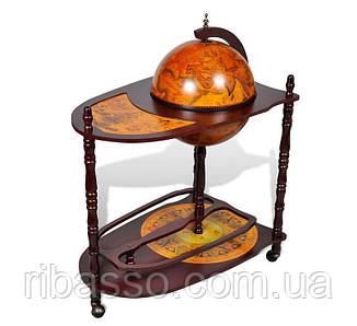 Глобус бар напольный со столиком 330 мм. коричневый