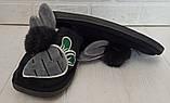 Комнатные тапочки зайчики с пушком PR 128 черные, фото 8
