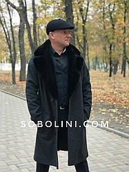 Мужское пальто  с мехом норки длина 115см