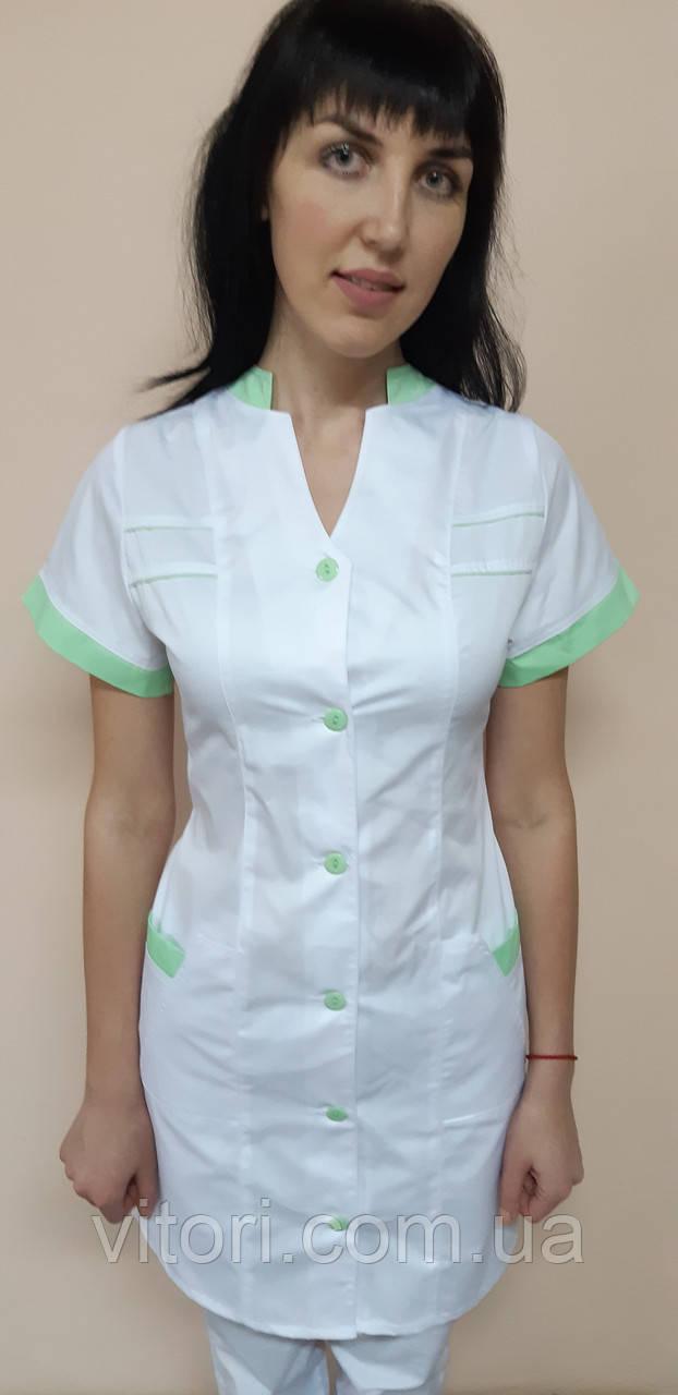 Жіночий медичний халат Оксана коттон короткий рукав