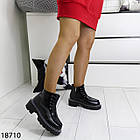 Зимові жіночі чорні черевики, екошкіра/экозамша 37 ОСТАННІЙ РОЗМІР, фото 2
