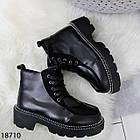 Зимові жіночі чорні черевики, екошкіра/экозамша 37 ОСТАННІЙ РОЗМІР, фото 6