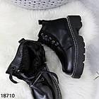 Зимові жіночі чорні черевики, екошкіра/экозамша 37 ОСТАННІЙ РОЗМІР, фото 7