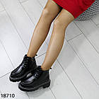 Зимові жіночі чорні черевики, екошкіра/экозамша 37 ОСТАННІЙ РОЗМІР, фото 4