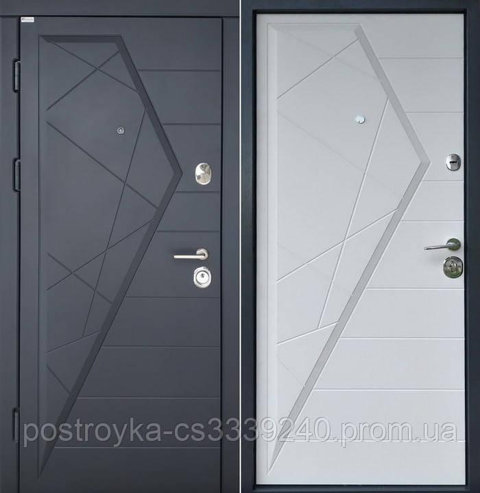 Двері вхідні SteelArt Стандарт АЙСБЕРГ МДФ/МДФ Графіт/Білий матовий ліва чи права