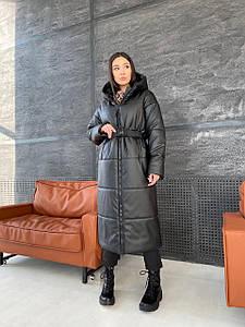 Стильное женское пальто-пуховик из экокожи 42-48 р