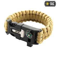 Браслет паракордовий M-Tac з кресалом компасом свистком Tan Size L