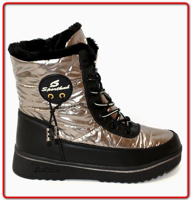 Женские Ботинки Зимние Дутые серебристые на шнурках (36)
