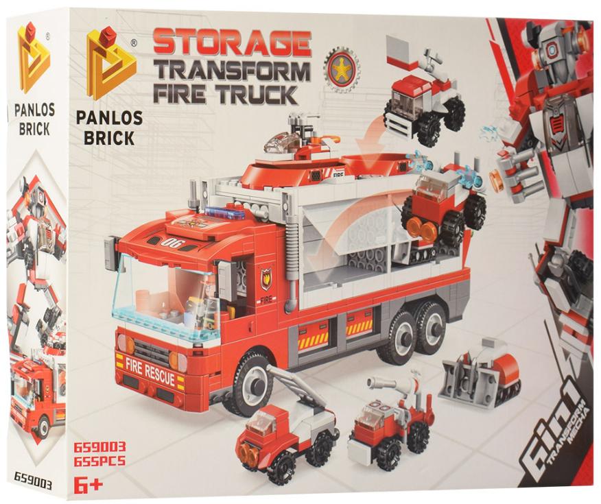 Конструктор Panlos Brick 659003 «Пожарная машина трансформер» 655 деталей