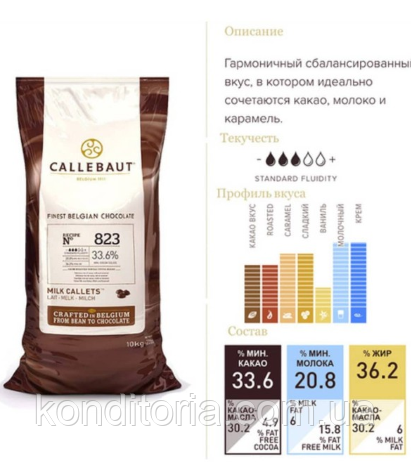 Шоколад молочный Barry Callebaut 33,6% 500г  823