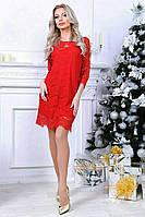 Женское коктейльное платье из французского гипюра, фото 1