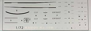Декаль для сборной модели вертолета Ка-15М в масштабе 1/72.