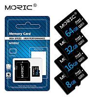 Карта пам'яті MicroSD 32 GB. MORIC. CLASS 10+ Adapter. Для телефонів, відеореєстраторів, фотоапаратів.