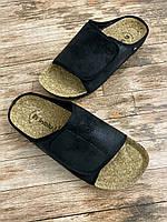 Мужские тапочки Inblu чёрный только 40,42 Ортопедическая  стелька из натуральной пробки,липучка.