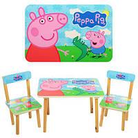 501-13 Столик деревянный, 60-40см, 2 стульчика, в кор-ке, свинка