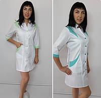 Жіночий медичний халат Еріка коттон три чверті рукав, фото 1