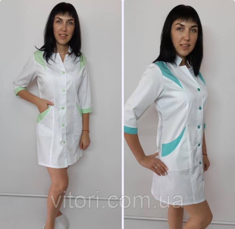 Жіночий медичний халат Еріка коттон три чверті рукав