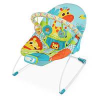 6875 Шезлонг детский муз,вибро, дуга,подвески, 3-точ.ремень, цв.коробка, жираф,голуб