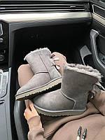 Женская зимняя обувь УГГи серого цвета. Комфортные угги для девушек UGG BAILEY BOW II GRAY.