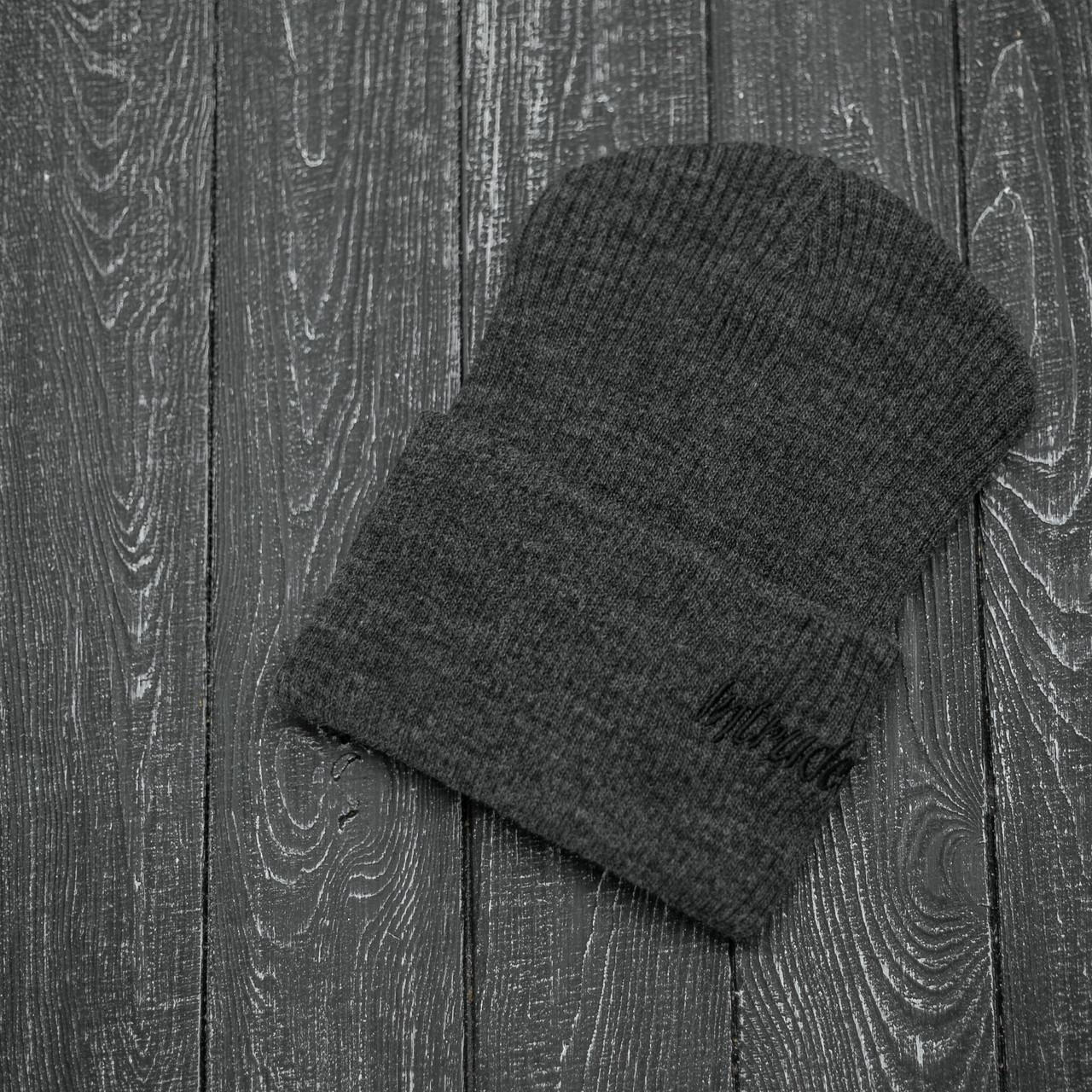 Мужская   Женская шапка Intruder серая, зимняя small logo