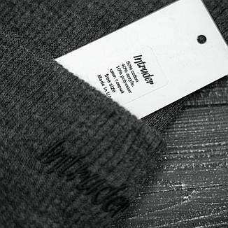 Мужская   Женская шапка Intruder серая, зимняя small logo, фото 2