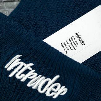 Мужская | Женская шапка Intruder синяя, зимняя big logo, фото 2