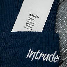 Мужская   Женская шапка Intruder синяя зимняя small logo + перчатки черные, зимний комплект + ПОДАРОК, фото 3