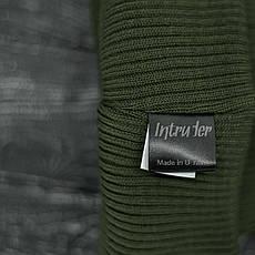 Мужская | Женская шапка Intruder хаки зимняя big logo + перчатки черные, зимний комплект + ПОДАРОК, фото 3