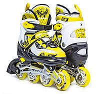 Раздвижные детские роликовые коньки Scale Sports LF 967, размер 34-37, Желтые, фото 1