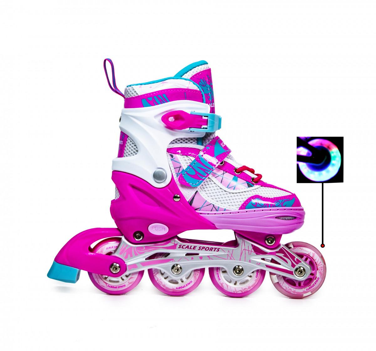 Раздвижные детские роликовые коньки Scale Sports LF 967, размер 34-37, Розовые