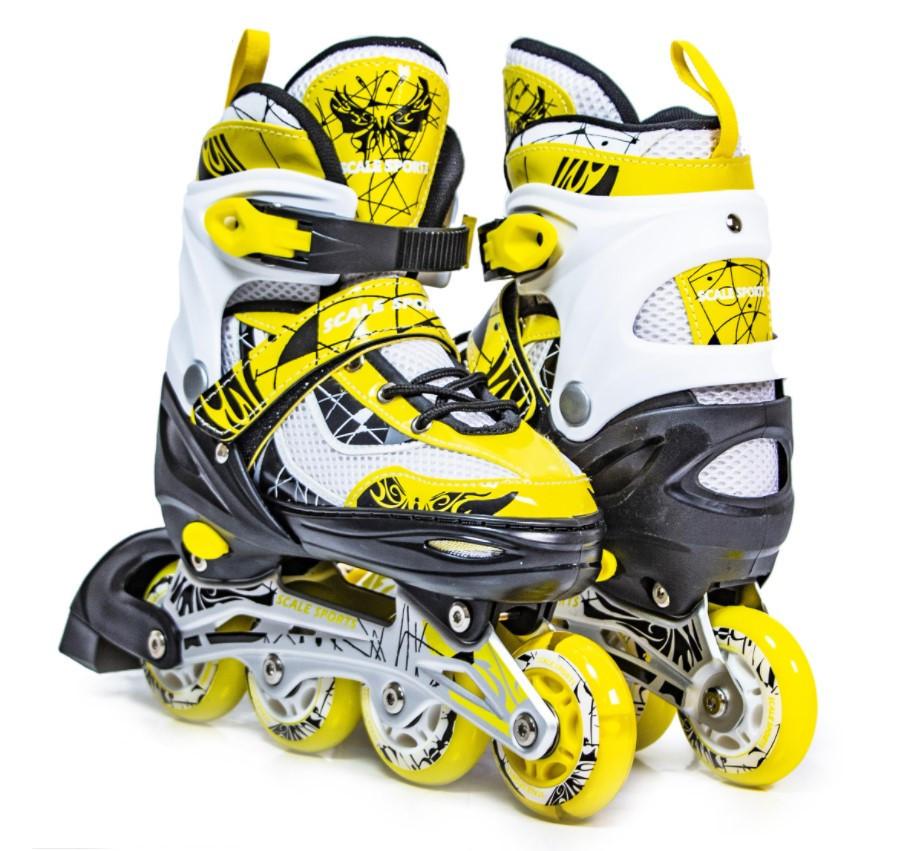 Раздвижные детские роликовые коньки Scale Sports LF 967, размер 38-41, Желтые