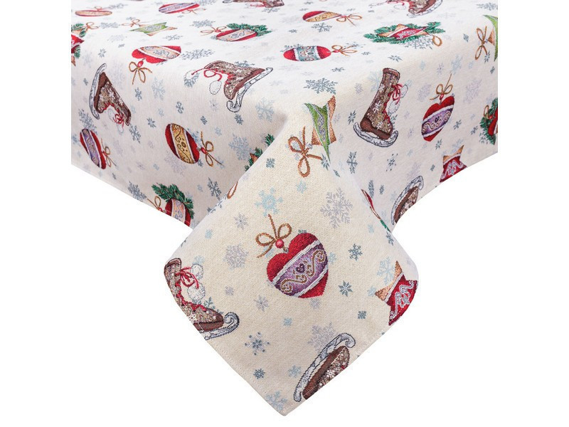 Скатерть праздничная новогодняя гобеленовая 180 х 137 см скатертина новорічна гобеленова