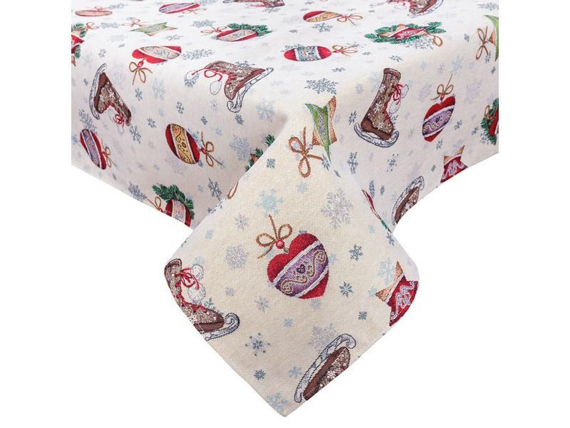Скатертина святкова новорічна гобеленова 260 х 137 см скатертина новорічна гобеленова