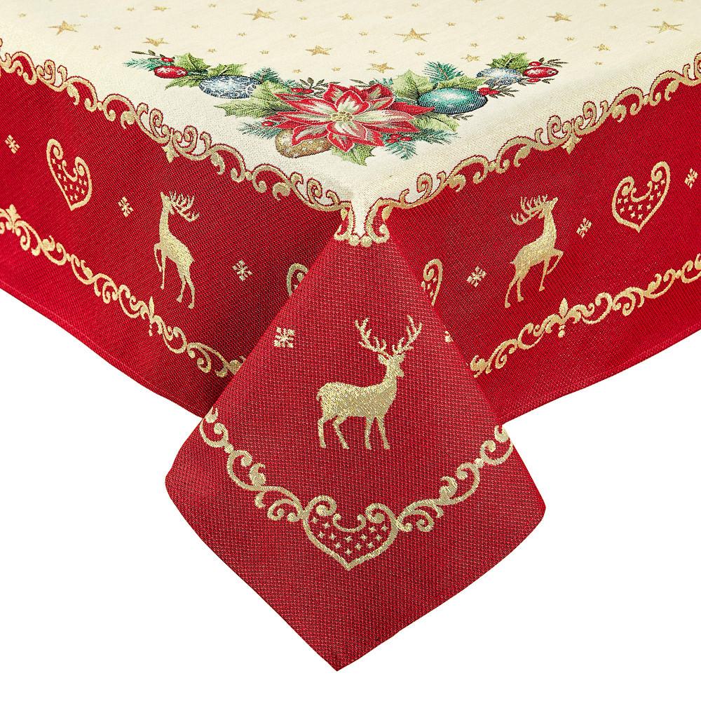 Скатертина новорічна гобеленова 300 х 137 см
