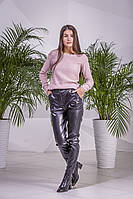 Шерстяной джемпер цвета пудры с открытой спинкой, 40% шерсть, 10% мохер (универсальный (S/L))
