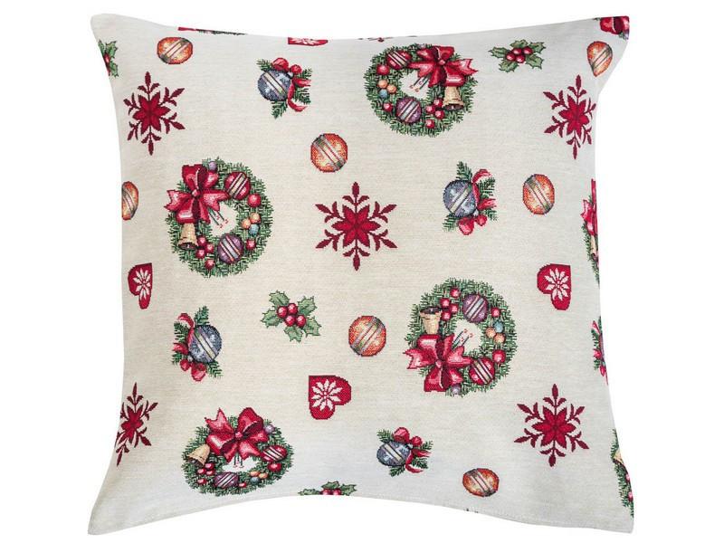 Наволочка декоративна гобеленова двостороння новорічна 45 х 45 см наволочка новорічна