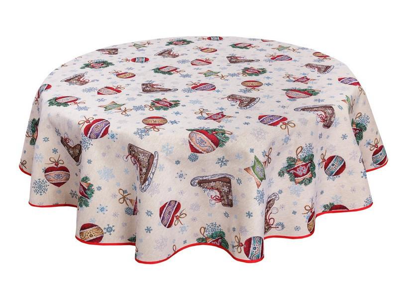 Скатертина новорічна кругла тканинна гобеленова 200 см скатертина новорічна гобеленова