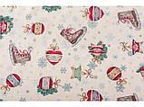 Скатертина новорічна кругла тканинна гобеленова 200 см скатертина новорічна гобеленова, фото 2