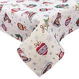 Скатертина новорічна кругла тканинна гобеленова 200 см скатертина новорічна гобеленова, фото 3