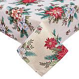 Скатерть новогодняя тканевая гобеленовая 137 х 240 см скатертина новорічна гобеленова, фото 2