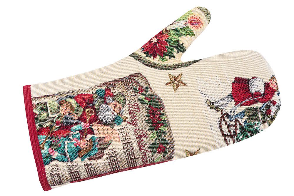 Рукавица-прихватка новогодняя гобеленовая 17х30 см рукавиця прихватка різдвяна новорічна