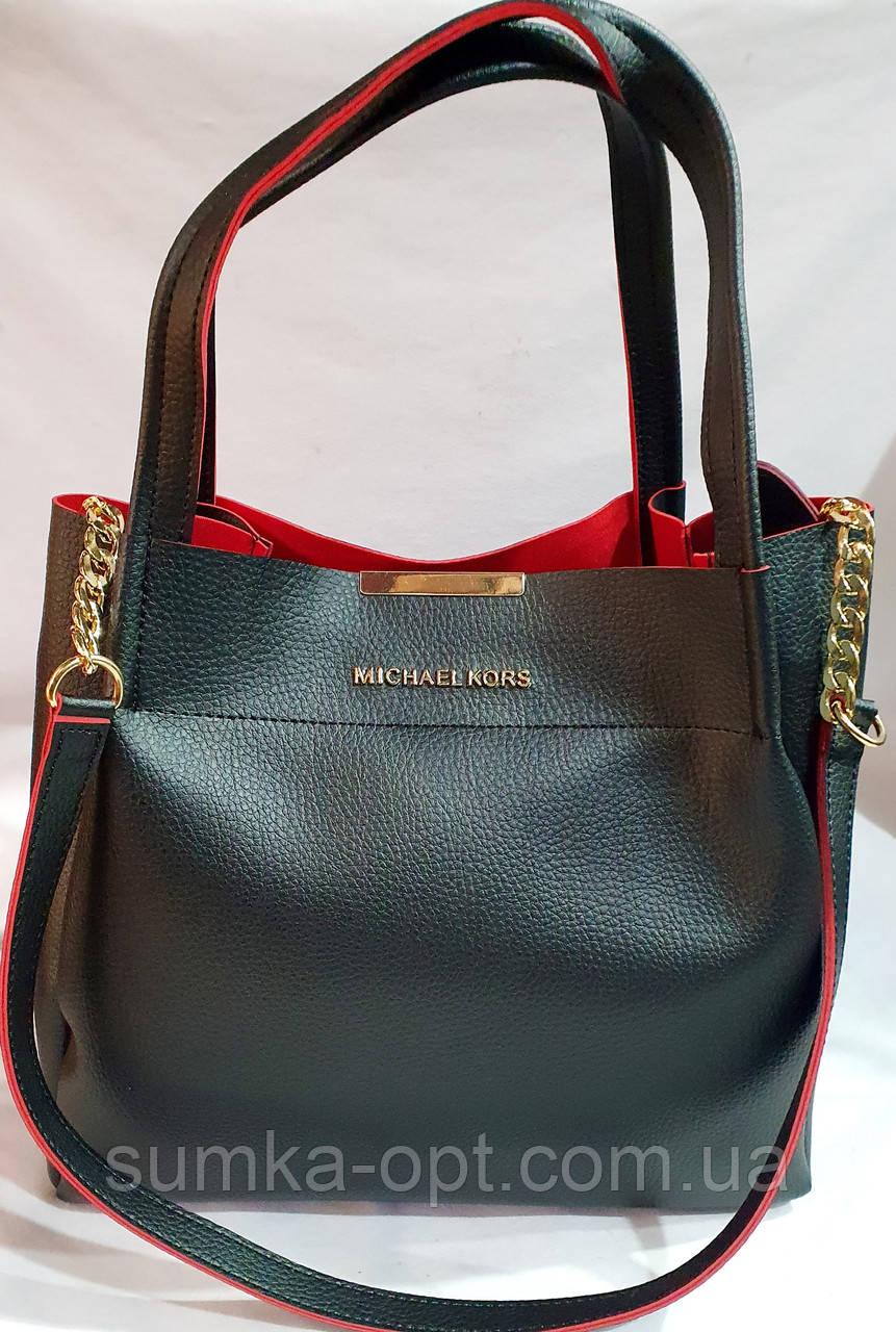 Брендовая женская сумка Michael Kors черно-красная 32*29 см