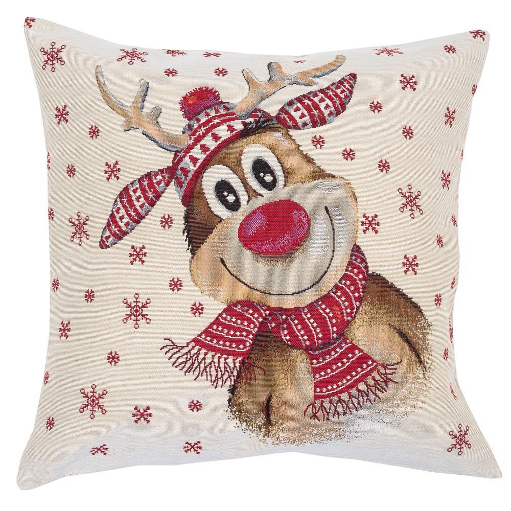 Наволочка декоративна гобеленова одностороння новорічна 45 х 45 см