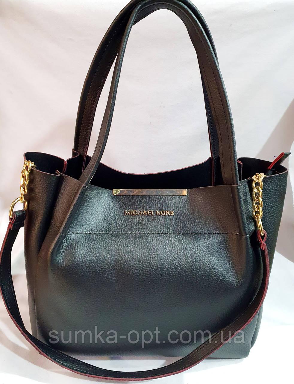 Брендовая женская сумка Michael Kors черная с красным кантиком 32*29 см