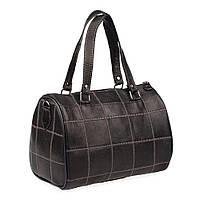 Женская кожаная сумка через плечо LT 5631 черная с белой строчкой