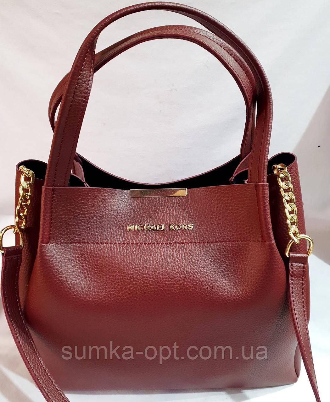 Брендовая женская сумка Michael Kors бордовая  32*29 см