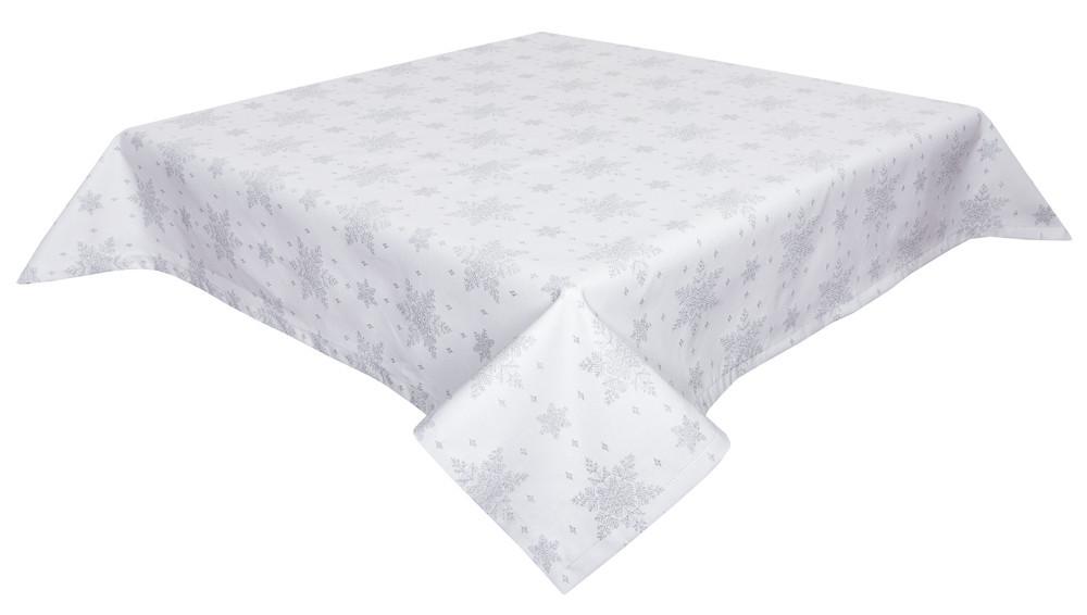 Скатерть новогодняя тканевая белая двусторонняя с люрексом 137 х 137 см скатертина новорічна