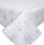 Скатертина новорічна, тканинна біла двостороння з люрексом 137 х 137 см скатертина новорічна, фото 2