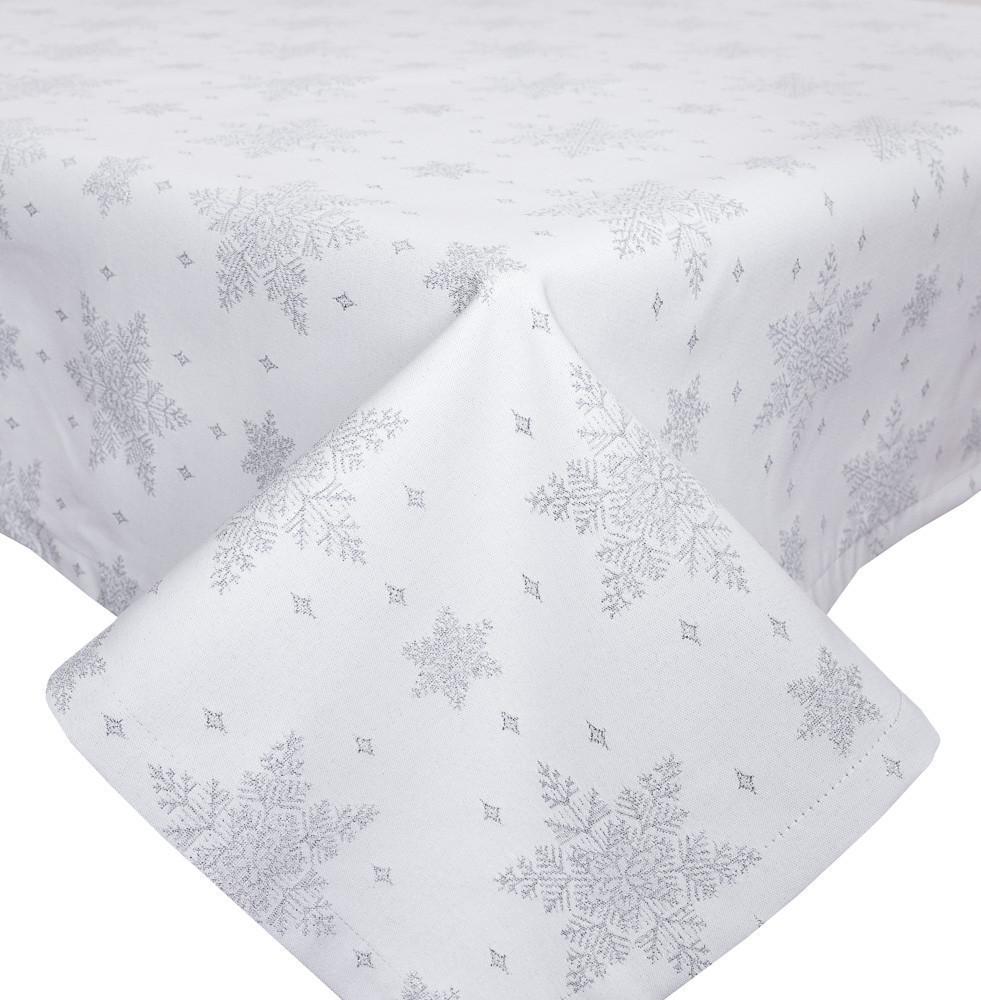 Скатертина новорічна, тканинна біла двостороння з люрексом 137 х 300 см скатертина новорічна